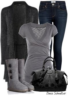 gray and black winter outfit Look Fashion, Fashion Outfits, Womens Fashion, Fashion Trends, Fashion Ideas, Fall Winter Outfits, Autumn Winter Fashion, Winter Style, Casual Outfits