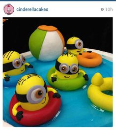 Swimming Minions by Cinderella Cakes!