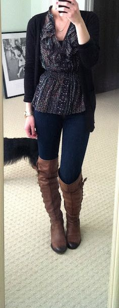 Cardigan, ruffle top, skinny jeans, boots
