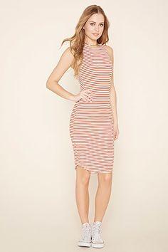Striped Bodycon Midi Dress
