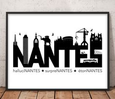 Nantes the surpreNantes, the astonishing and hallucinating Find in a poster of Nantes, some of the many symbols of the city of Nantes in a minimalist black and white style. Poster format Nantes: cm) – Sold without frame Paper: / rnrnSource by Black And White Posters, Black And White Drawing, Black And White Design, Surf Decor, Retro Logos, City Maps, Mural Art, Surf Shop, Infographic