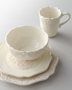 "16-Piece ""Bianca Medallion"" Dinnerware Service at Horchow."