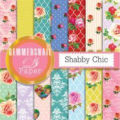 Shabby chic scrapbook paper, shabby chic roses digital paper x 14