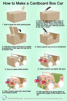 "How to build a cardboard car.Perfect for our ""Drive-In Movie"" Night!"