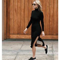 vestido-midi-fenda=tenis-gola-alta-mamgas-longas-como-usar