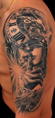 Surrealistic Clock with woman portrait sleeve tattoo
