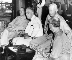 President Franklin Roosevelt at Pearl Harbor on June 11, 1944. L-R General Douglas MacArthur; President Roosevelt; Admiral Chester Nimitz; and Admiral William Taft Leahy. (CSU_ALPHA_22) CSU Archives/Everett Collection