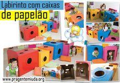 Labirinto com caixas de papelão   Pra Gente Miúda