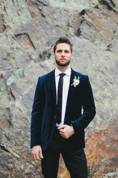 groom in blue velvet
