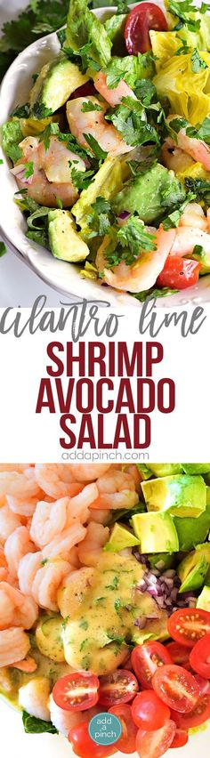 Lime Shrimp Avocado Salad Recipe - This Cilantro Lime Shrimp Avocado Salad recipe has all the flavors of summer in every delicious bite! So quick and easy to toss together and perfect for a lunch or a light supper! Shrimp Avocado Salad, Cilantro Lime Shrimp, Avocado Salad Recipes, Avocado Salat, Avocado Ideas, Cilantro Recipes, Asparagus Salad, Salmon Salad, Broccoli Salad