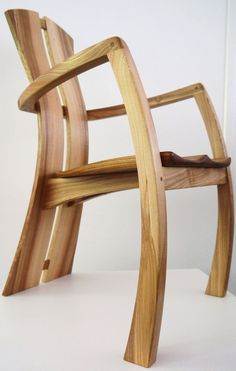 Split-Back Armchairs - Real Wood Studios Handmade Furniture, Fine Furniture, Unique Furniture, Wooden Furniture, Furniture Projects, Furniture Design, 3d Cnc, Kitchen Stools, Cool Chairs