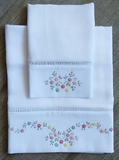 Embroider a set of napkins wit Towel Embroidery, Hand Embroidery Stitches, Ribbon Embroidery, Hand Stitching, Embroidery Patterns, Machine Embroidery, Baby Sheets, Embroidered Pillowcases, Linens And Lace