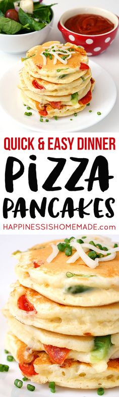 Pizza Pancakes are a quick and easy dinner idea that your whole family will love! Personalize them with your favorite pizza toppings for a delicious family dinner in under 30 minutes! Quick Easy Dinner, Easy Dinner Recipes, Easy Meals, Easy Recipes, Family Meals, Kids Meals, Cena Paleo, Favourite Pizza, Vegetarian Recipes