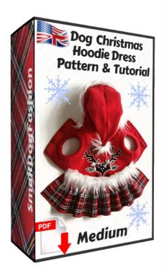 Christmas dog dress for small dog, PDF sewing pattern, INSTANT Download, 2 PDF, step-by-step layout, cutting, and sewing instructions. #smalldogfashion #dogclothing #dogcoats #dogdress #sewingpattern #christmasclothes Dog Coat Pattern, Coat Patterns, Pdf Sewing Patterns, Small Dog Clothes Patterns, Pekinese, Dog Hoodie, Dog Dresses, Hoodie Dress, Dog Coats