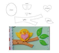 Pajaritos de asistencia Felt Crafts Patterns, Applique Patterns, Foam Crafts, Paper Crafts, Quiet Book Templates, Fabric Animals, Art Corner, Ribbon Art, Easy Quilts