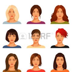 femme visage: jeune femme avec divers coiffure et la couleur