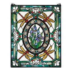 Add chic Tiffany style to your setting with the Design Toscano Dragonfly Floral Stained Glass Window . This stained glass window features hand cut and. Dragonfly Stained Glass, Stained Glass Panels, Stained Glass Patterns, Stained Glass Art, Mosaic Glass, Blue Dragonfly, Dragonfly Decor, Mosaic Patterns, Window Wall Decor