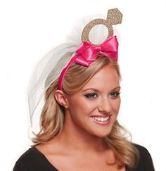 This Glitter Gold Ring Headband with Veil is fun for a Bachelorette Party or Bridal Shower...but sweet too!
