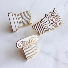 Classical Column Pin Set Mythology Architecture Art History