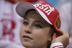 Lipnitskaia - Russian Figure Skater after her skate in the team competition 2014