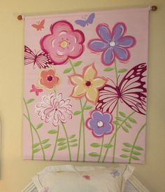 """oversized hand painted flower canvas 36""""x46"""""""