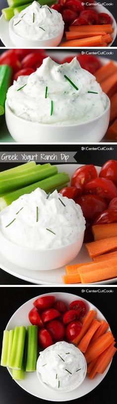 This recipe for RANCH DIP is made with GREEK YOGURT and is perfect for veggies, chips, or whatever else you'd like to dip!