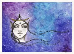 """Nebula"", illustration by Lidiane Dutra #illustration #painting #watercolor #galaxy #nebula"