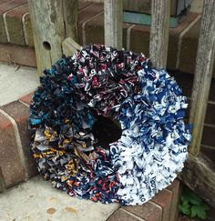 6 FOOTBALL TEAM of Choice on one Wreath~ Steelers~Broncos~Cowboys~Carolina Panthers~Colts~SF49ers~All Cotton Tie On Fabric Sports Team by TeesWonderfulWreaths on Etsy
