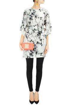 Ecru and black printed silk tunic. BY PAYAL PRATAP Shop now at: www.perniaspopups... #perniaspopupshop #designer #stunning #fashion #style #beautiful #happyshopping #love #updates