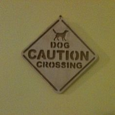 Wooden handmade dog crossing wall hanging by Fine Crafts on Opensky