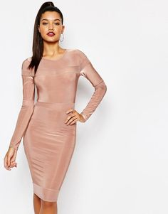 Fede Missguided Long Sleeve Mesh Panel Midi Dress - Rose Missguided Bodycon Kjoler til Damer i fantastisk kvalitet
