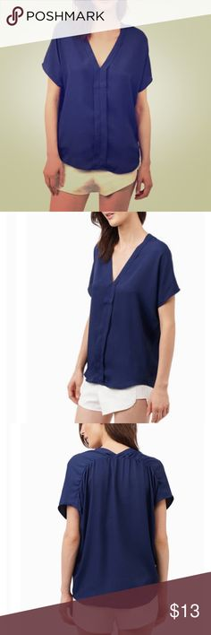 Tobi navy blue short sleeve top! NWT Perfect with tags, navy blue blouse Tobi Tops Blouses