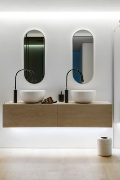 Australian Contemporary Bathroom with Modern Design Ideas : Australian Contemporray Bathroom Design Ideas With Floating Vanity Unit In Wood . Bathroom Mirror Design, Modern Bathroom Design, Bathroom Interior Design, Modern House Design, Home Design, Modern Sink, Vanity Bathroom, Design Ideas, Wall Mirror