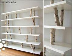 Wood branch book shelf