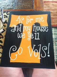 team spirit Tennessee football orange and black canvas art. $25.00, via Etsy.