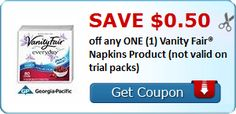 New Coupon!  SAVE $0.50 off any ONE (1) Vanity Fair® Napkins Product (not valid on trial packs)! - http://www.stacyssavings.com/new-coupon-save-0-50-off-any-one-1-vanity-fair-napkins-product-not-valid-on-trial-packs/