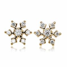 Snowflake Pave Setting Round Cubic Zirconia Gold Plated Stud Earrings