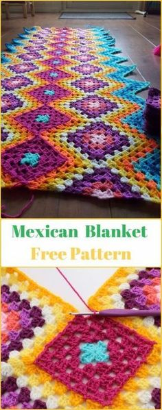 Crochet afghans 513128951296093864 - Crochet Mexican Granny Blanket Free Pattern – Crochet Block Blanket Free Patterns Source by hooperms Crochet Square Pattern, Crochet Blocks, Crochet Squares, Crochet Square Blanket, Crochet Afghans, Afghan Crochet Patterns, Crochet Blankets, Crochet Edgings, Crochet Simple