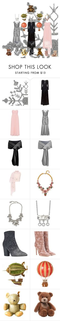 """""""Toys, Gowns, and The Teddy Bear Ball this Christmas"""" by courtenay-militaryveteran ❤ liked on Polyvore featuring Temperley London, Mascara, Janavi, Dolce&Gabbana, Kenneth Jay Lane, Cathy Waterman, Nine West, Gianvito Rossi, Authentic Models and Gund"""