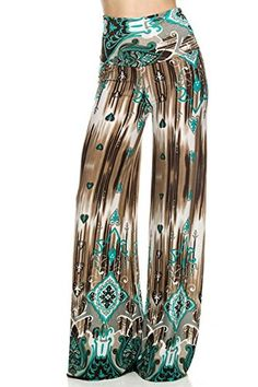High Waisted Fold Over Wide Leg Gaucho Palazzo Pants (Teal/Brown) – Niobe Clothing High Waisted Palazzo Pants, Wide Leg Palazzo Pants, Wide Leg Pants, Arte Fashion, Women's Fashion, Handkerchief Hem Dress, Printed Yoga Pants, Soft Pants, Next Fashion