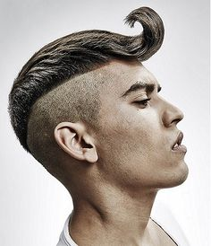 I could rock this     A Medium Brown straight shaved-sides sculptured quiff avant-garde mens haircut hairstyle by The Hair Studio