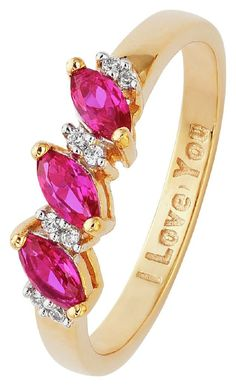 Show her just how much she is loved with this beautiful half eternity ring. Set with dazzling red created ruby stones and white cubic zirconia, the ring is sure to delight with a hidden I Love You; message within its inner shank. 1 rings in set. Band material 9ct gold plated sterling silver. Created ruby stone set. Available in sizes L to R. Width of band 2mm. Message in shank reads I Love You.