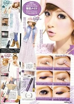 SIMPLE PURPLE JAPANESE GYARU MAKEUP TUTORIAL (note: read from right to left)