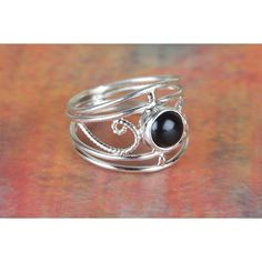 Amazing Black Onyx Gemstone 925 Sterling Silver Ring via Polyvore featuring jewelry, rings, sterling silver rings, sterling silver jewelry, sterling silver jewellery, black onyx rings and sterling silver black onyx ring