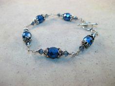 Czech Sapphire glass and Denim blue crystals sterling silver bracelet | belhavenstudios - Jewelry on ArtFire