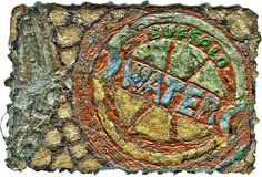 "Buffalo Water by Bobbi Mastrangelo on embossed 4"" x 6"" hand made paper for FDH Paper Makers Conference PAPER IN PARADISE · KONA, HAWAII October 23 - 26, 2008"
