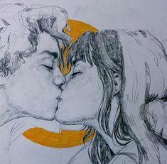 Art of kissing, illustration Drawing Sketches, Pencil Drawings, Drawing Ideas, Art Inspiration Drawing, Arte Sketchbook, Anime Kunst, Fantasy Kunst, Art Hoe, Pretty Art