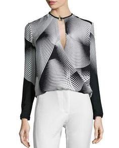 HALSTON HERITAGE Long-Sleeve Graphic-Print Draped Blouse. #halstonheritage #cloth #