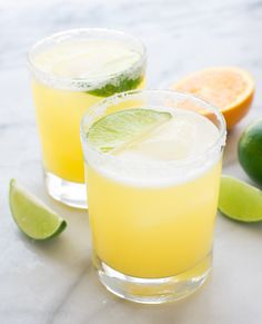 Skinny Margarita recipe — all of the refreshing margarita taste without the calories! Made simply with fresh juices, agave, and tequila. @wellplated