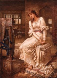 """""""Elaine"""" (also known as """"The Lady of Shalott"""") by John Melhuish Strudwick (1849-1937)."""